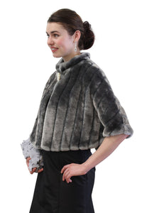 Gray Faux Fur Capelet, faux fur cape, wedding fur cape, bridal fur cape for women