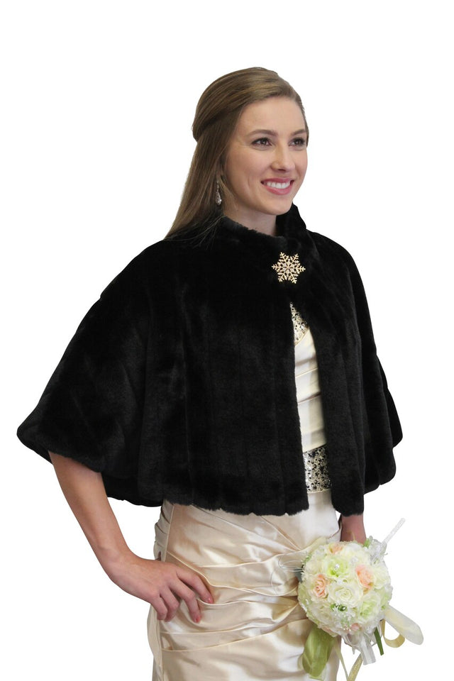 Black faux fur cape, faux fur cape, wedding fur cape, bridal fur cape for women
