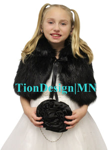 Bridal Black Faux Fur Cape Fox for Child, faux fur shrug, faux fur wrap, faux fur stole
