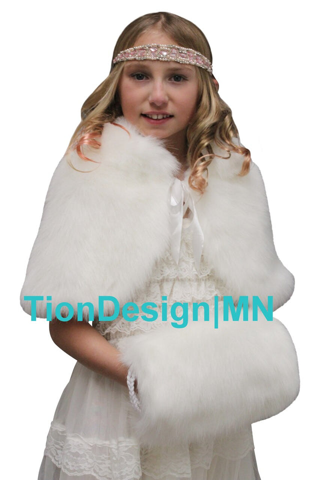 Ivory Faux Fur Cape for Flower Girl, fur shrug for girls | TionDesign | MN