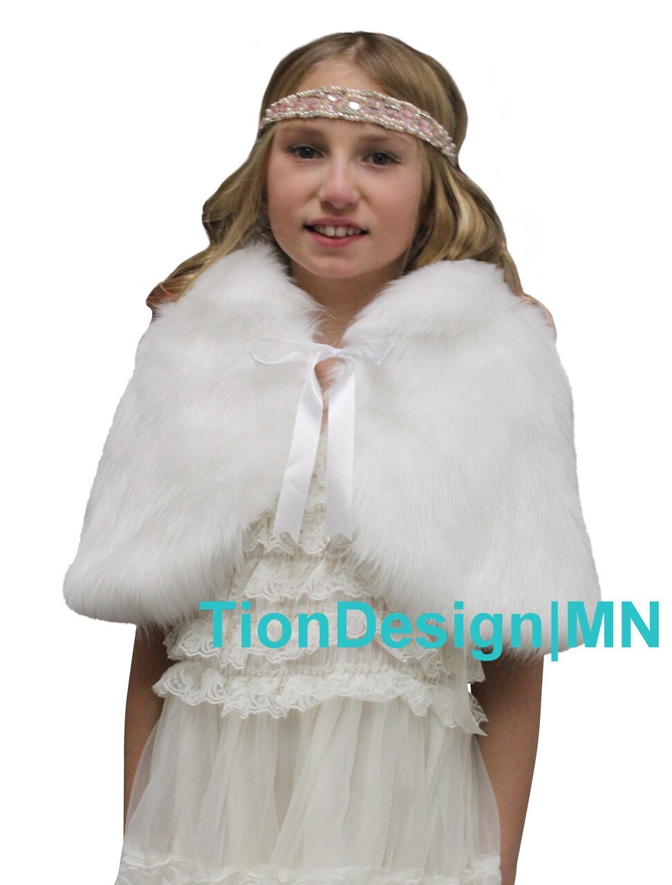 White Kid Faux Fur Cape for flower girl, Wrap Shawl Shrug