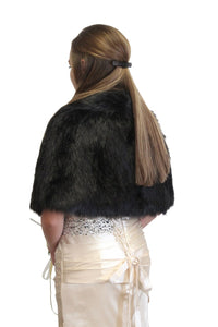 Black Faux Fur Cape Fox, faux fur shrug, faux fur wrap, faux fur stole