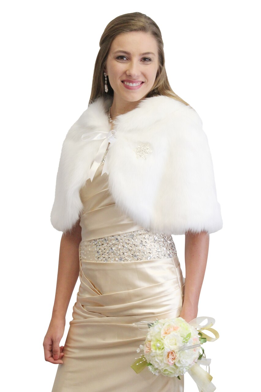 White Faux Fur Cape Fox, faux fur shrug, faux fur wrap, faux fur stole
