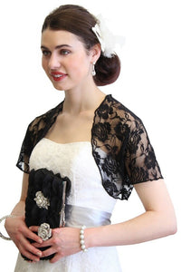 Black Lace Bolero With Short Sleeve 720ROS-BLK