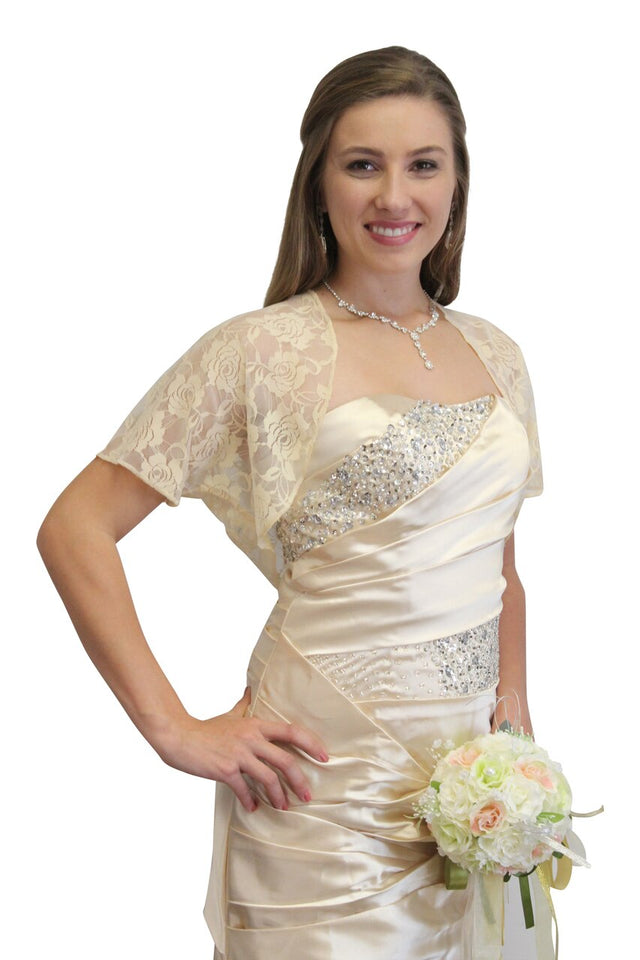 Champagne Lace Bolero, lace shrug, bridal shrug, wedding jacket