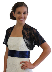 Navy Blue Lace Bolero With Short Sleeve 720ROS-NBLUE
