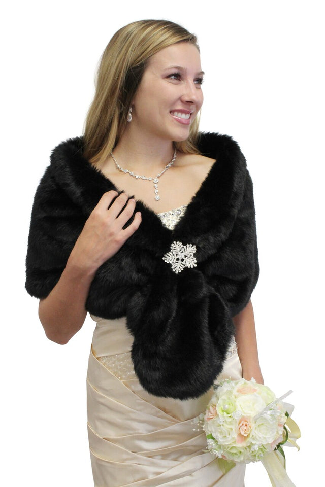 Black Faux Fur Wrap, Bridal Fur Shrug, Fur Stole, Fur Shawl