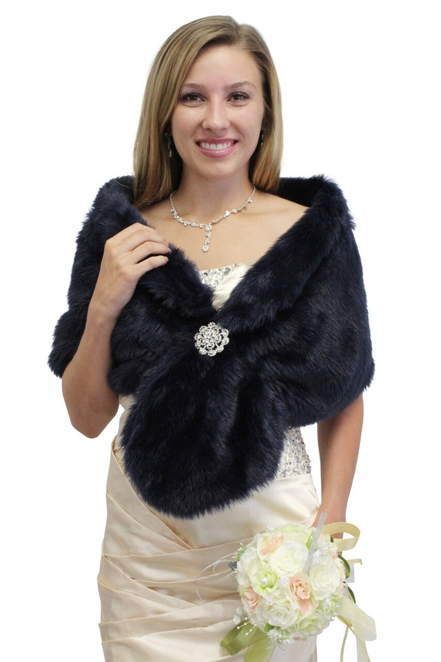 Navy Blue faux fur stole, faux fur wrap, bridal fur shrug, faux fur shawl