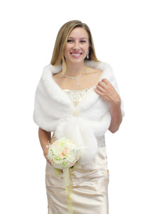 White Bridal faux fur shawl BLACK FRIDAY SALE