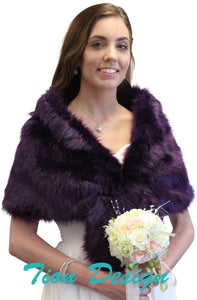 Purple Faux Fur Stole Shrug Wrap