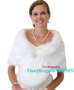 Bridal fur stole,  White Faux fur Shawl Wrap, wedding fur stole