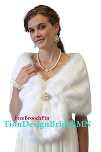 White Faux fur Shawl Wrap near me, bridal fur stole for Winter Wedding