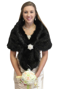Bridal faux fur stole Black, Faux fur wrap, bridal wrap,