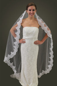 "White Alencon Lace 65"" Bridal Veil"