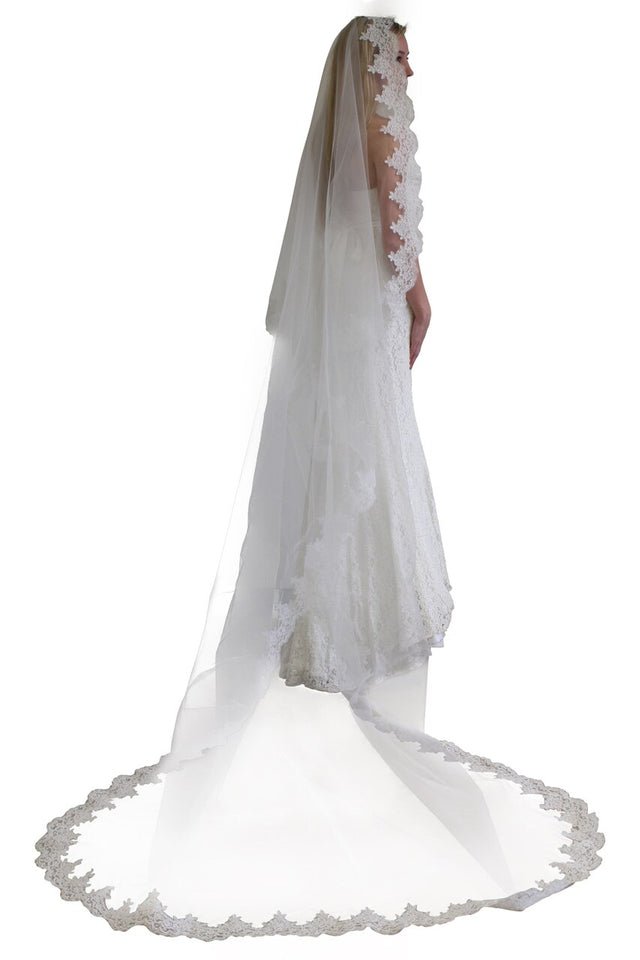 Ivory Mantilla Lace Veil One Tier Cathedral Length