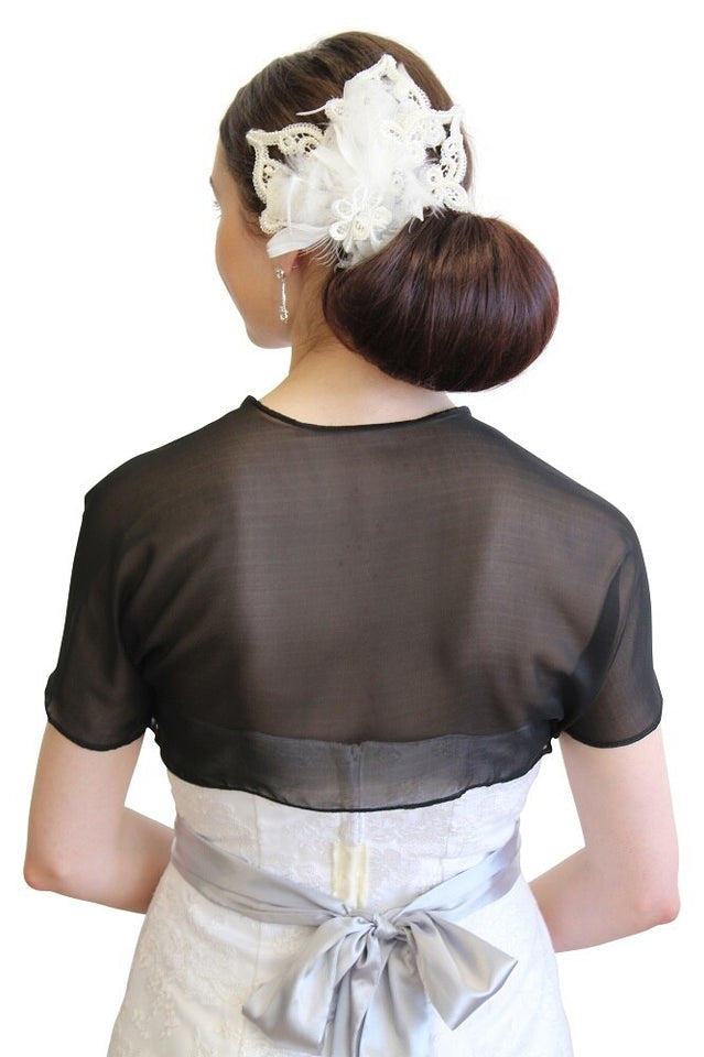 Black Chiffon Bolero With Short Sleeve 810CH-BLK