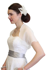 Ivory Chiffon Bolero With Short Sleeve