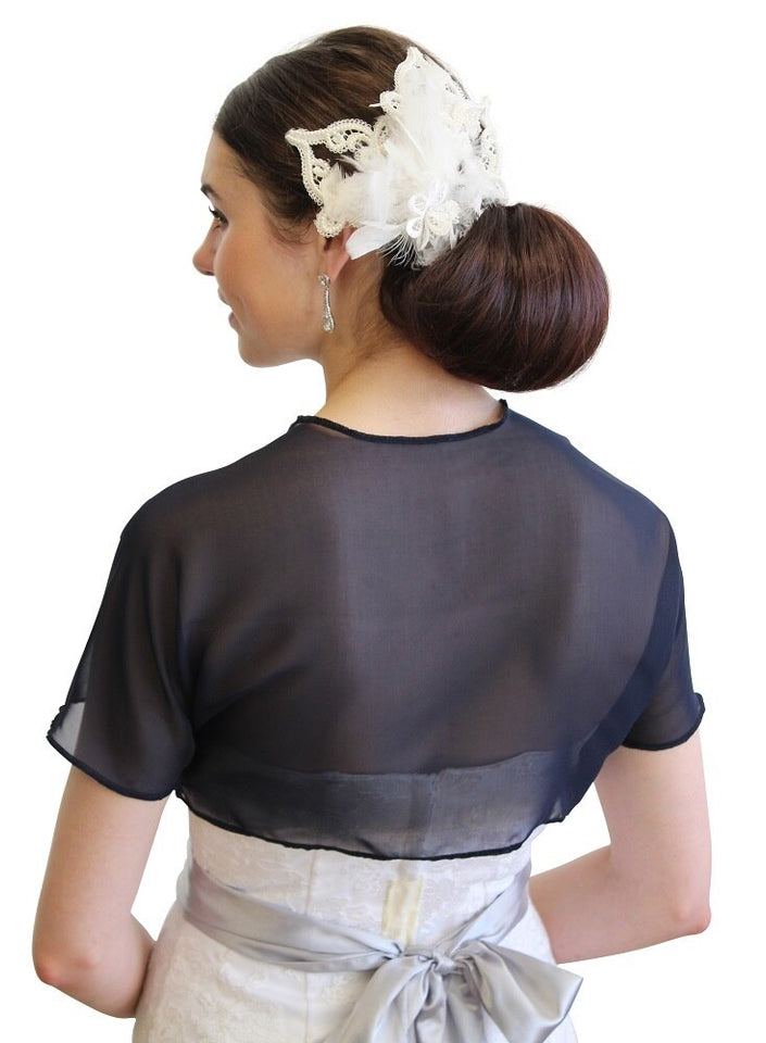 Navy Blue Chiffon Bolero With Short Sleeve