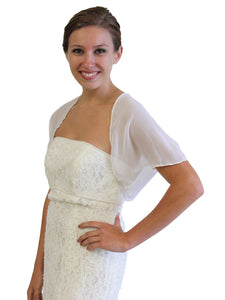 White Chiffon Bolero With Short Sleeve