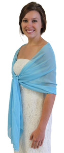 Chiffon Scarf Bridal Wrap Wedding Stole - Aqua Blue 8139