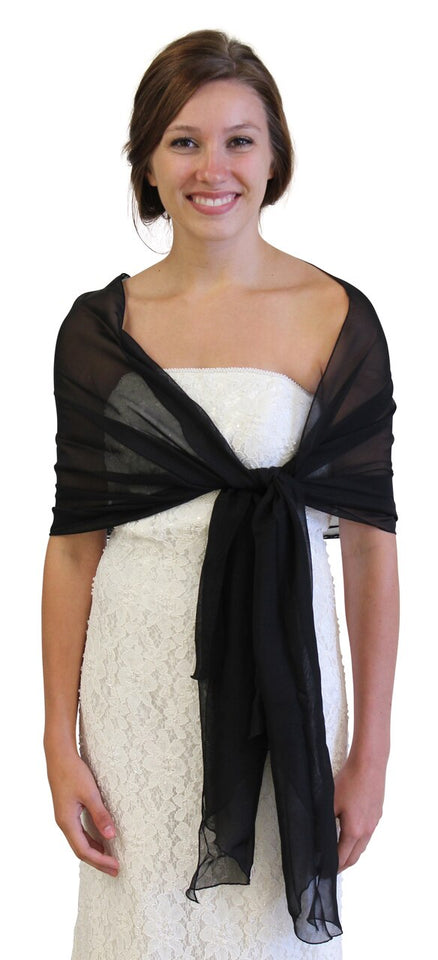 Chiffon Scarf Bridal Wrap Wedding Stole - Black 8139