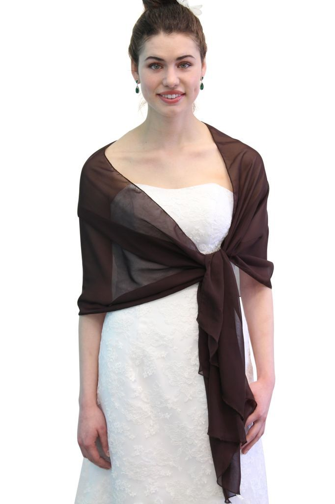 Chiffon Scarf Bridal Wrap Wedding Stole - Brown 8139
