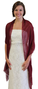 Chiffon Scarf Bridal Wrap Wedding Stole - Burgundy 8139