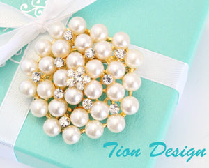 Wedding Brooch, Rose Gold Pearl Bridal Brooch