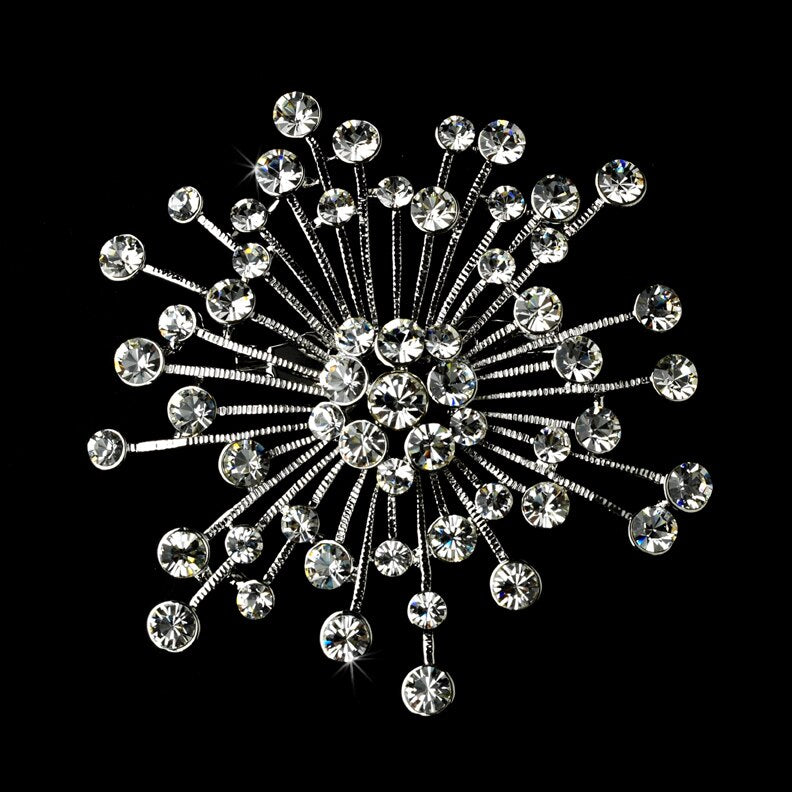 Bridal Austrian Crystal Star Brooch HP#3066