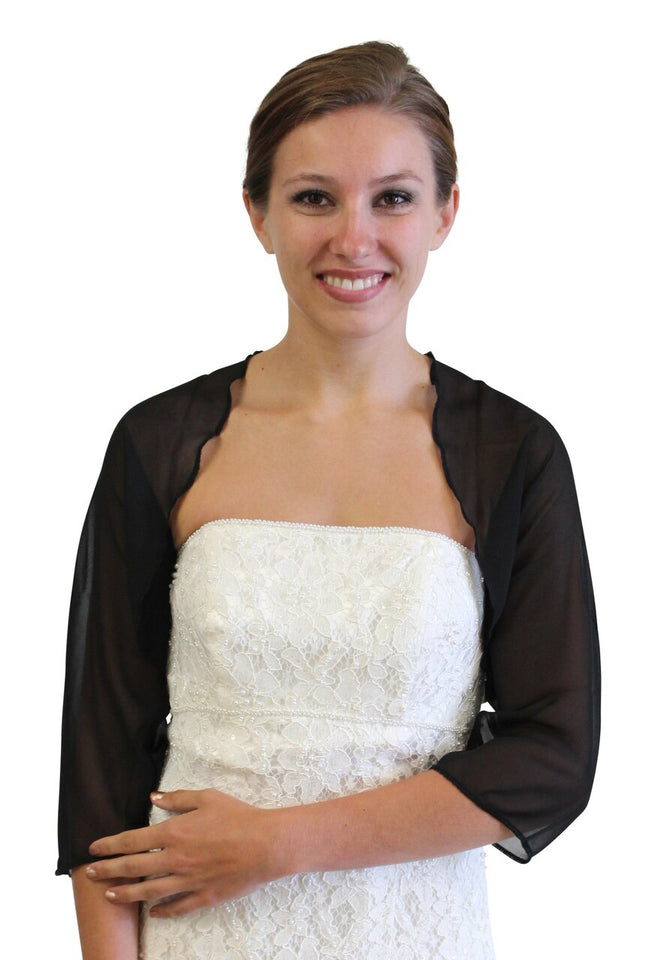 Chiffon Jacket, Black Wedding bolero, Prom Shrug