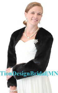 Black faux fur jacket, faux fur shrug bolero wedding jacket