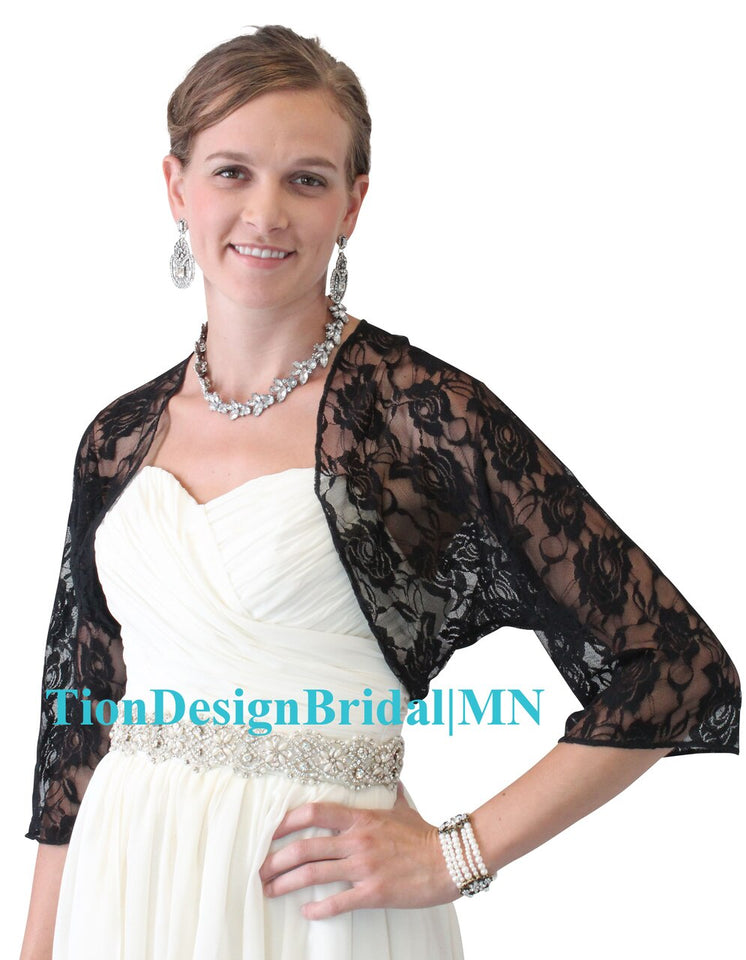 Navy Blue Lace Bridal Jacket, Blue Wedding jacket 890LA-NBLUE