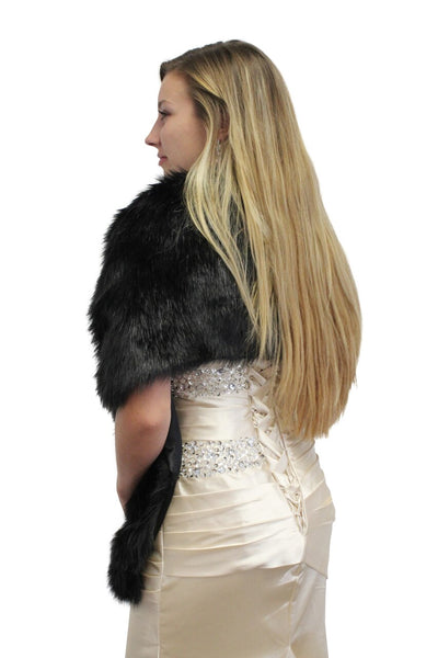 Faux Fur Stole Black, Bridal Fur Wraps and Shawls