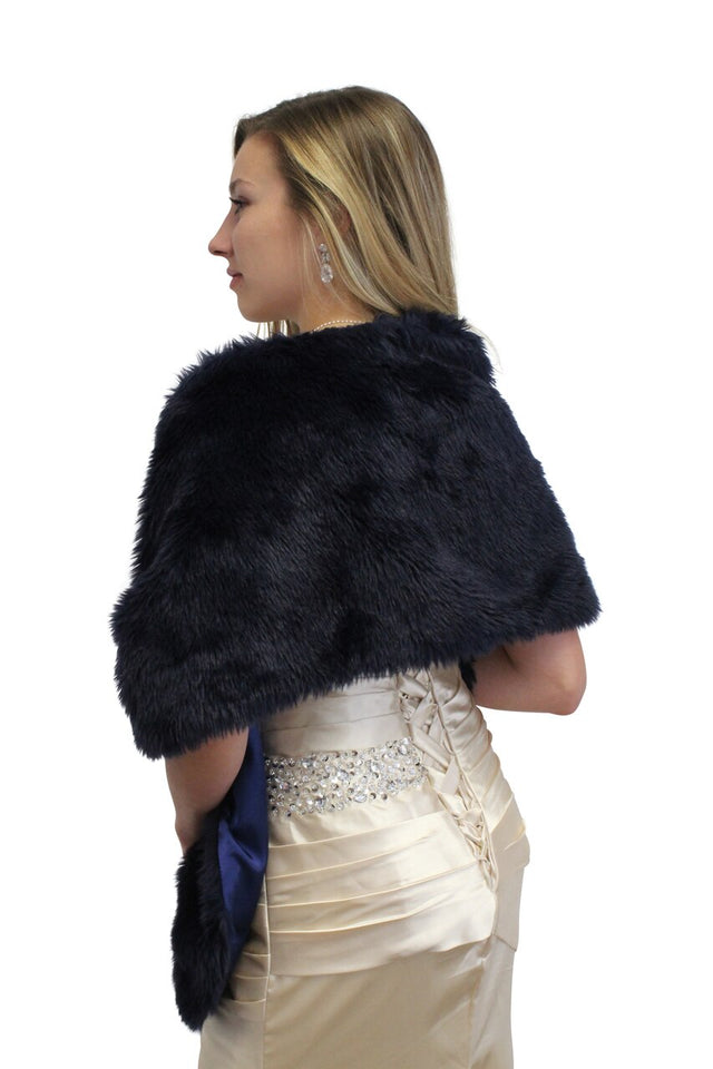 Navy Blue Faux Fur Stole, faux fur shrug, faux fur wrap, faux fur shawl
