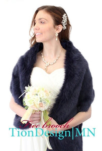 Navy Blue Bridal Fur Stole, Faux Fur Wedding Shawl