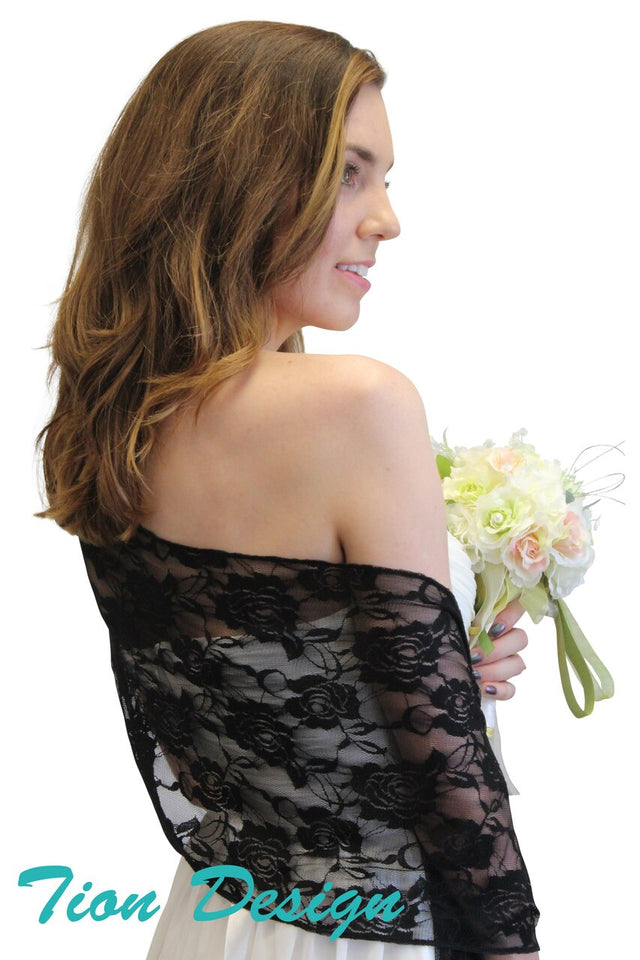 Black Lace Bridal Shawl Wedding Wrap Prom Scarf