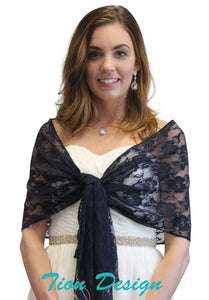 Navy Blue Bridal Lace Shawl, Wedding Wrap, Evening Scarf