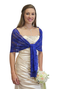 Bridal Wrap Royal Blue, Lace Bridal Shawl, Wedding Wrap, Prom Scarf