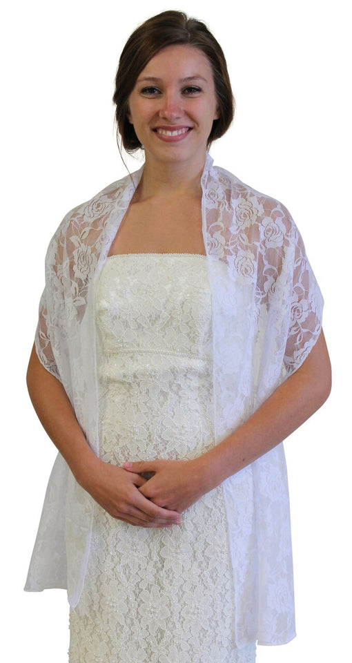 White Lace Bridal Shawl Wedding Wrap Prom Scarf