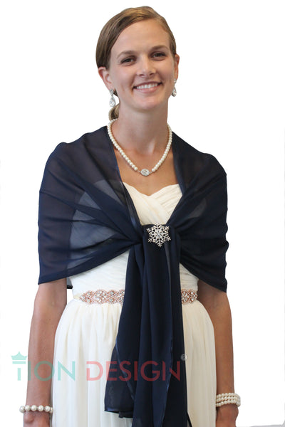 Chiffon Shrug Shawl, Evening Wedding Wrap (Ship from Minnesota)