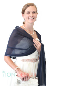 Chiffon Shrug Shawl, Evening Wedding Wrap, Navy Blue