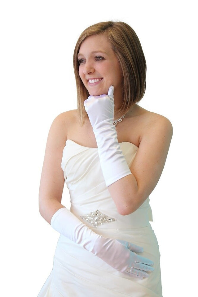 White Satin Gloves - Below Elbow Length