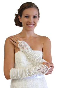 Ivory Embellished Lace Gauntlet Glove