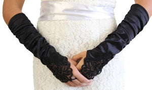 Black Embellished Lace Gauntlet Glove