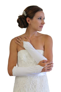 White Bridal Gloves With Pearl Accent