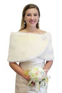 Cream faux fur bridal wrap, wedding fur stole, faux fur shrug, shawls,