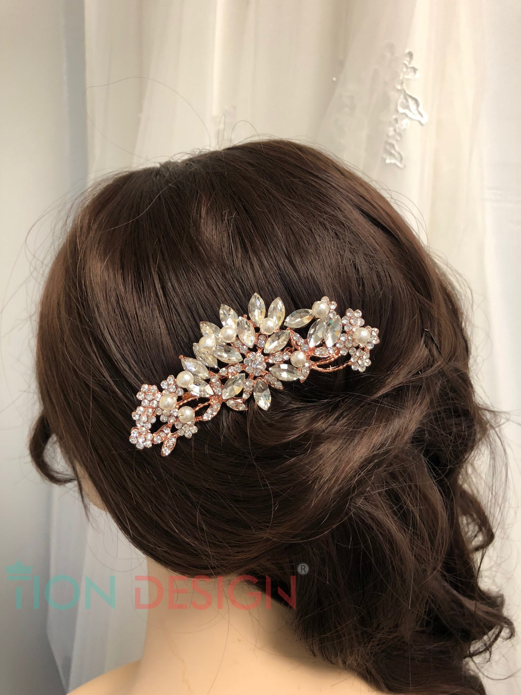 Wedding Hair Comb Rose Gold, Vintage Rhinestone Floral Bridal Hair Comb