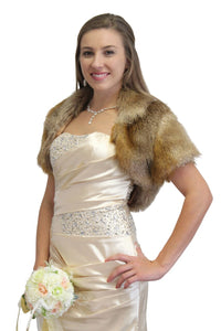 Bridal Faux Fur Bolero Jacket Vintage Brown, bridal bolero, bridal fur shrug