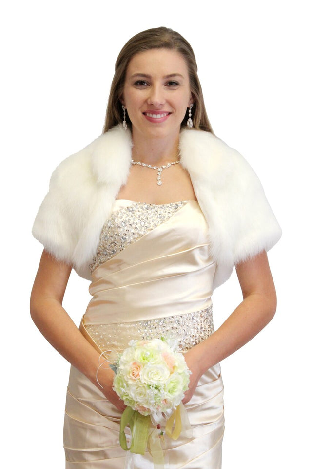 Bridal Faux Fur Bolero, Bridal Bolero Jacket Faux fur shrug, bridal shrug 680F-Ivory