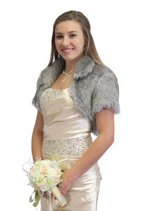 Bridal Bridal Faux Fur Bolero Jacket 680F-Gray, bridal bolero, bridal fur shrug